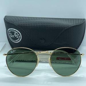 Brand New Rayban Round Rb3447 Gold with Green